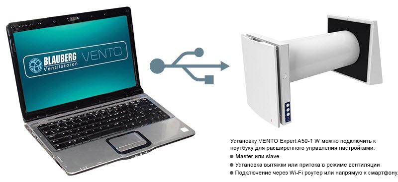 Управление VENTO-Expert-A50-1-W Notebook